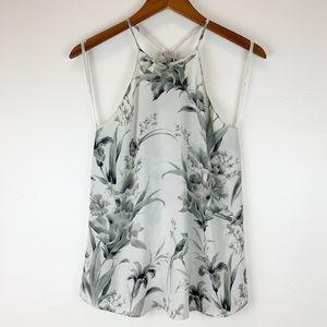 Loft 🌵 Black/White Floral Drapey Halter Top S